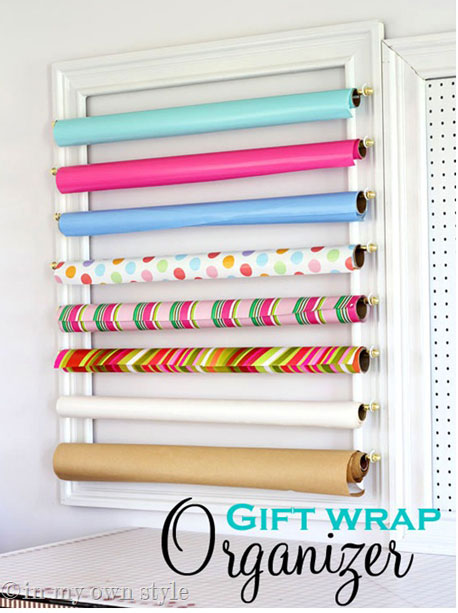 wrapping paper organizer gift wrap organization ideas inspiration 29388