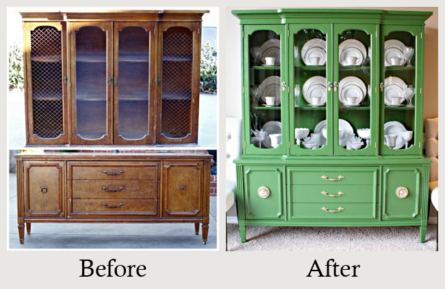 Furniture Makeovers The Of Paint Vibrant Green Gave This Sad China Cabinet
