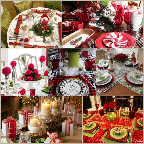 Fun Christmas Table Decorations: Christmas Table Settings Round-Up: 27 Fabulous Ideas