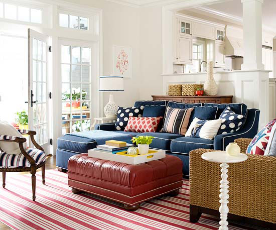 Red White And Blue Rooms From Clic To Contemporary Decorating Files Redwhitebluerooms